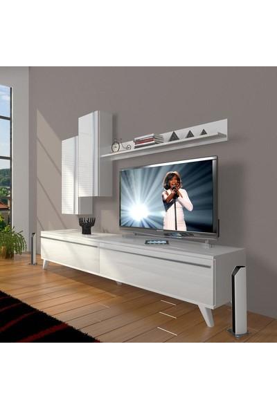 Decoraktiv Eko 7 Mdf Std Retro Tv Ünitesi Tv Sehpası Parlak Beyaz