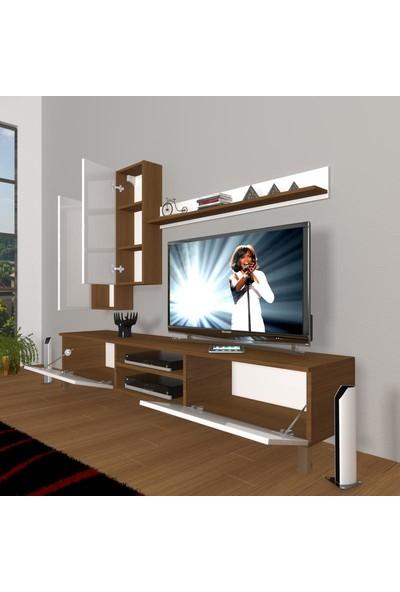 Decoraktiv Eko 7 Slm Dvd Krom Ayaklı Tv Ünitesi Tv Sehpası Beyaz Ceviz