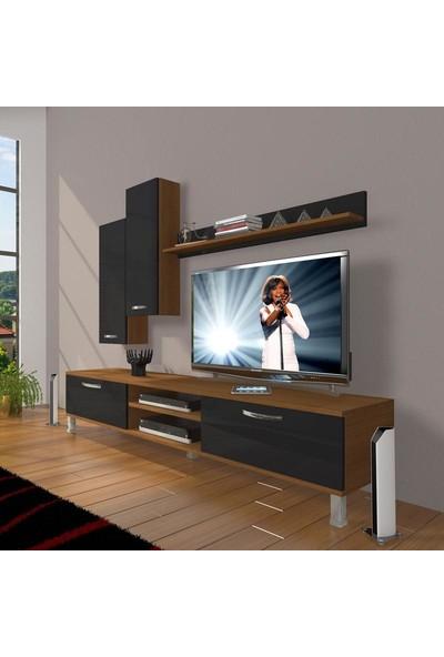 Decoraktiv Eko 7 Slm Dvd Krom Ayaklı Tv Ünitesi Tv Sehpası Ceviz Siyah