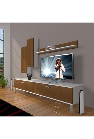 Decoraktiv Eko 7 Slm Std Krom Ayaklı Tv Ünitesi Tv Sehpası Beyaz Ceviz