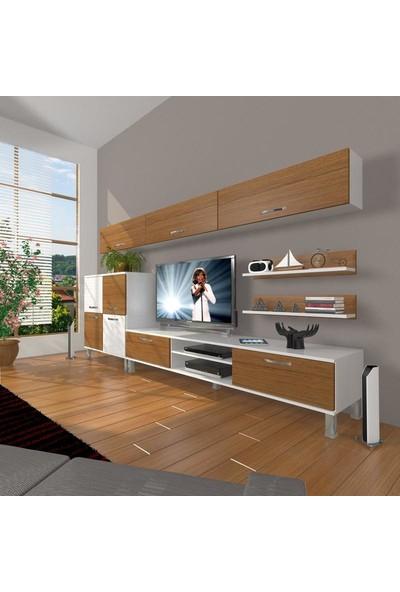 Decoraktiv Eko 8 Mdf Dvd Krom Ayaklı Tv Ünitesi Tv Sehpası Beyaz Ceviz