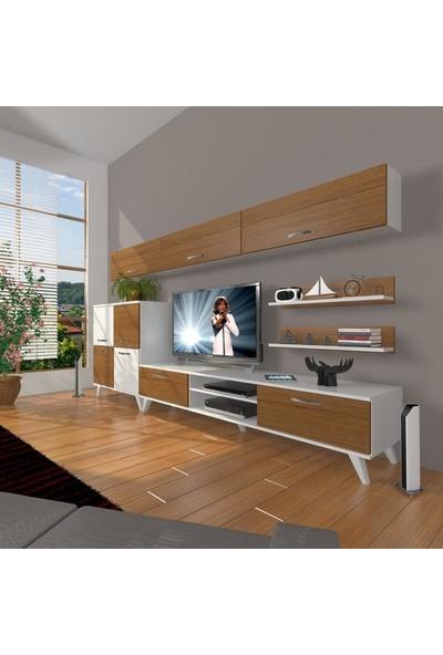 Decoraktiv Eko 8 Mdf Dvd Retro Tv Ünitesi Tv Sehpası Beyaz Ceviz