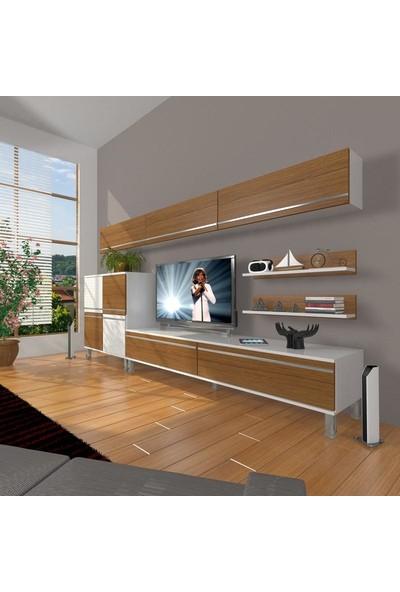 Decoraktiv Eko 8 Mdf Std Krom Ayaklı Tv Ünitesi Tv Sehpası Beyaz Ceviz