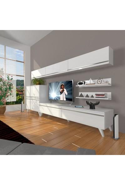 Decoraktiv Eko 8 Mdf Std Retro Tv Ünitesi Tv Sehpası Parlak Beyaz