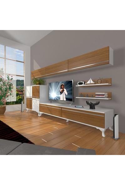 Decoraktiv Eko 8 Mdf Std Rustik Tv Ünitesi Tv Sehpası Beyaz Ceviz