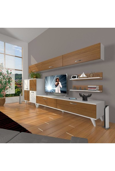 Decoraktiv Eko 8 Slm Std Retro Tv Ünitesi Tv Sehpası Beyaz Ceviz