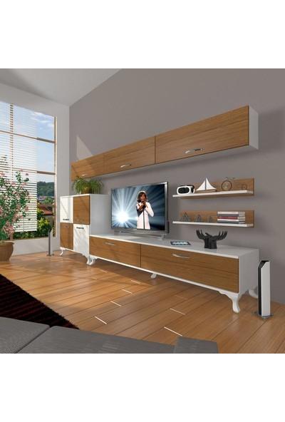 Decoraktiv Eko 8 Slm Std Rustik Tv Ünitesi Tv Sehpası Beyaz Ceviz