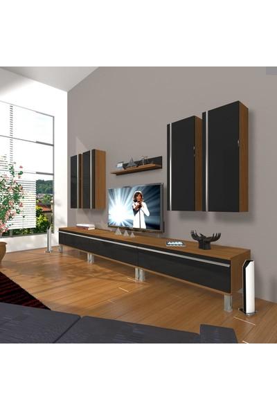 Decoraktiv Eko 8D Mdf Krom Ayaklı Tv Ünitesi Tv Sehpası Ceviz Siyah