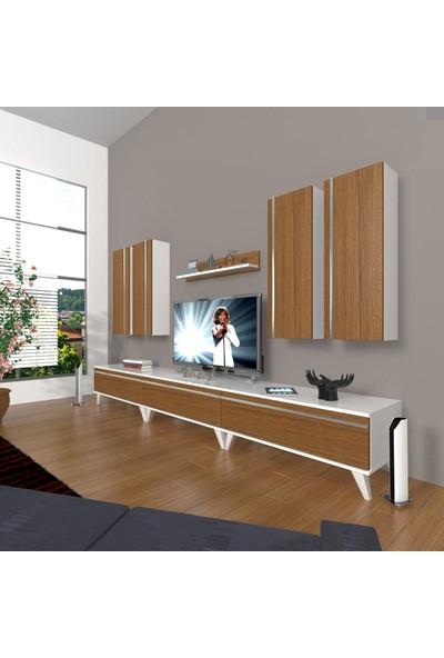Decoraktiv Eko 8D Mdf Retro Tv Ünitesi Tv Sehpası Beyaz Ceviz