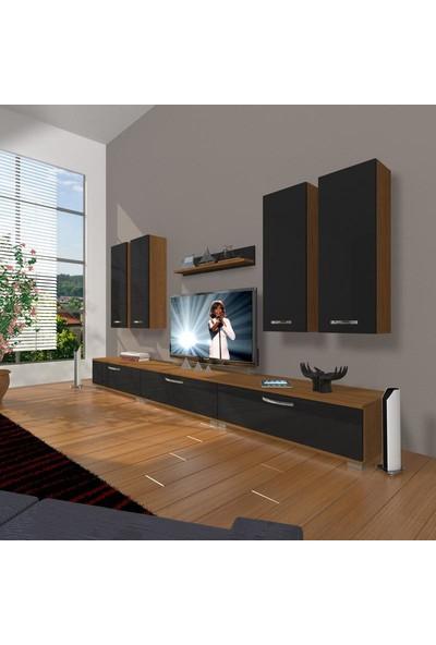 Decoraktiv Eko 8D Slm Krom Ayaklı Tv Ünitesi Tv Sehpası Ceviz Siyah