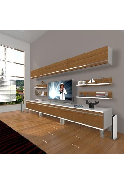 Decoraktiv Eko 8Y Mdf Krom Ayaklı Tv Ünitesi Tv Sehpası Beyaz Ceviz