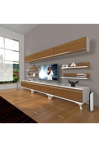 Decoraktiv Eko 8Y Mdf Rustik Tv Ünitesi Tv Sehpası Beyaz Ceviz