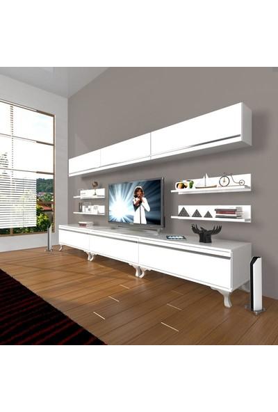 Decoraktiv Eko 8Y Mdf Rustik Tv Ünitesi Tv Sehpası Parlak Beyaz