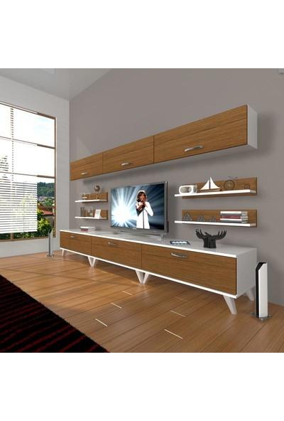 Decoraktiv Eko 8Y Slm Retro Tv Ünitesi Tv Sehpası Beyaz Ceviz