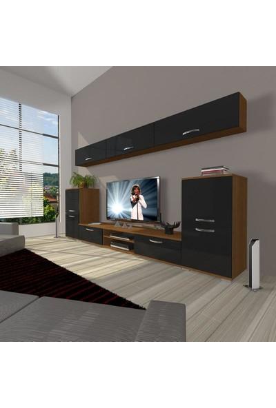 Decoraktiv Eko 9 Mdf Dvd Tv Ünitesi Tv Sehpası Ceviz Siyah