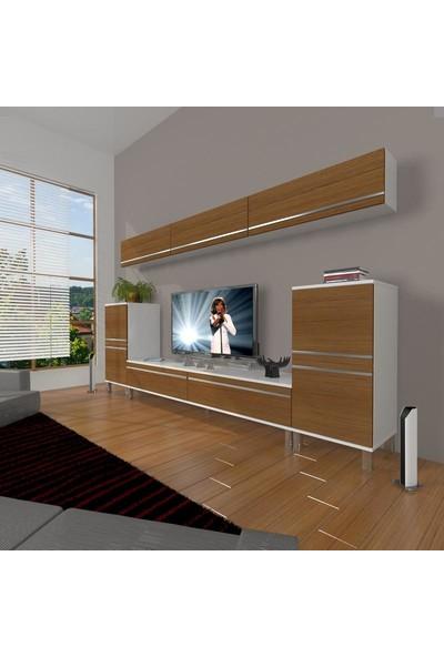Decoraktiv Eko 9 Mdf Std Krom Ayaklı Tv Ünitesi Tv Sehpası Beyaz Ceviz