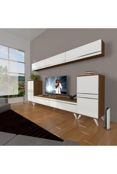 Decoraktiv Eko 9 Mdf Std Retro Tv Ünitesi Tv Sehpası Ceviz Beyaz