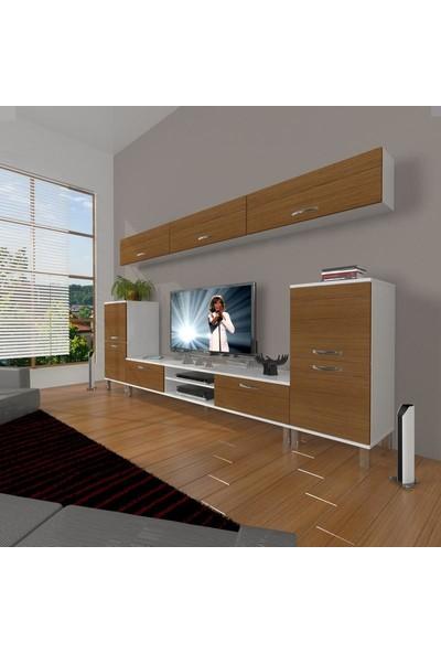 Decoraktiv Eko 9 Slm Dvd Krom Ayaklı Tv Ünitesi Tv Sehpası Beyaz Ceviz