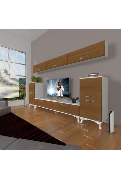 Decoraktiv Eko 9 Slm Std Rustik Tv Ünitesi Tv Sehpası Beyaz Ceviz