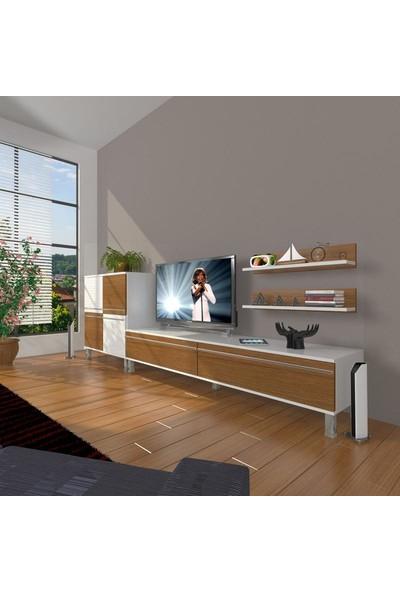 Decoraktiv Eko On Mdf Std Krom Ayaklı Tv Ünitesi Tv Sehpası Beyaz Ceviz