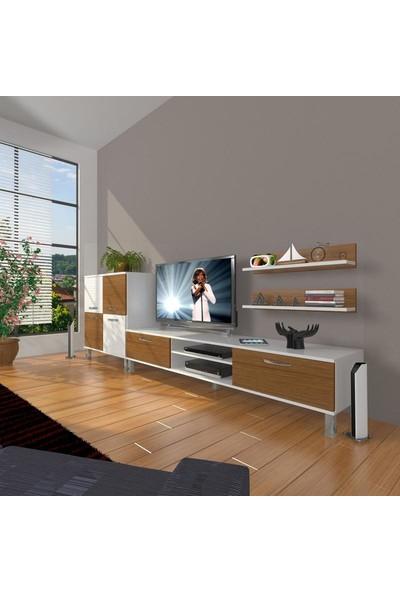 Decoraktiv Eko On Slm Dvd Krom Ayaklı Tv Ünitesi Tv Sehpası Beyaz Ceviz
