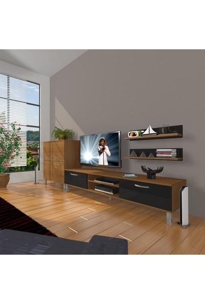 Decoraktiv Eko On Slm Dvd Krom Ayaklı Tv Ünitesi Tv Sehpası Ceviz Siyah
