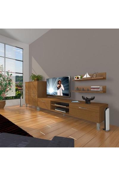 Decoraktiv Eko On Slm Dvd Krom Ayaklı Tv Ünitesi Tv Sehpası Naturel Ceviz