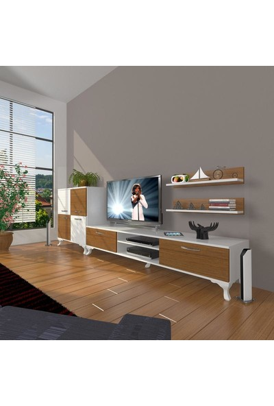 Decoraktiv Eko On Slm Dvd Rustik Tv Ünitesi Tv Sehpası Beyaz Ceviz