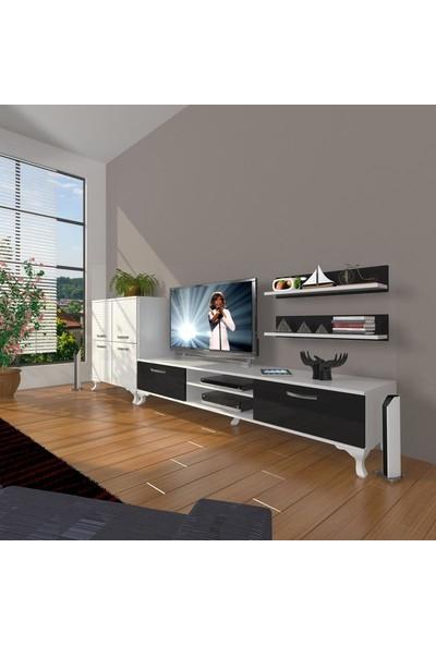 Decoraktiv Eko On Slm Dvd Rustik Tv Ünitesi Tv Sehpası Beyaz Siyah