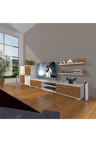 Decoraktiv Eko On Slm Dvd Tv Ünitesi Tv Sehpası Beyaz Ceviz
