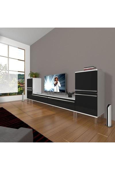 Decoraktiv Eko On2 Mdf Std Krom Ayaklı Tv Ünitesi Tv Sehpası Beyaz Siyah