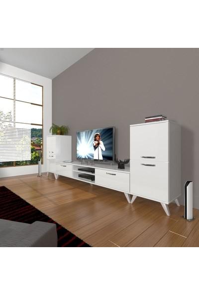 Decoraktiv Eko On2 Slm Dvd Retro Tv Ünitesi Tv Sehpası Parlak Beyaz