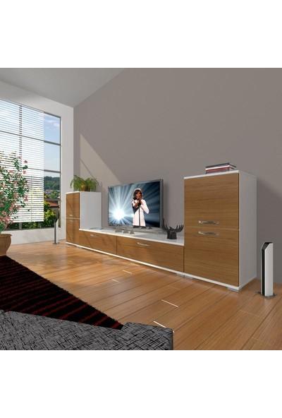 Decoraktiv Eko On2 Slm Std Tv Ünitesi Tv Sehpası Beyaz Ceviz