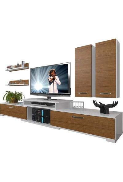 Decoraktiv Flex 5D SLM Tv Ünitesi Tv Sehpası Beyaz Ceviz