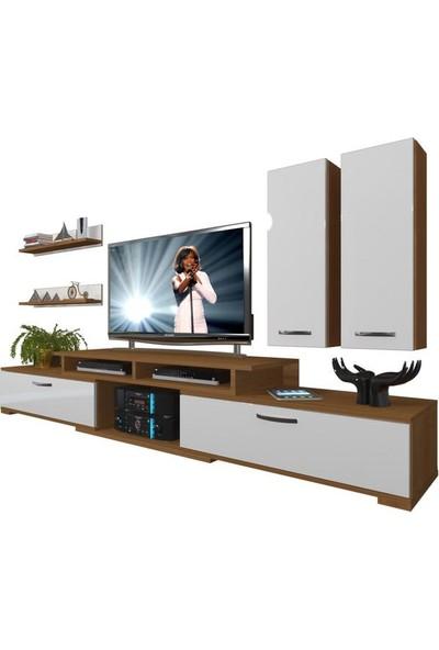 Decoraktiv Flex 5D130 MDF Tv Ünitesi Tv Sehpası Ceviz Beyaz