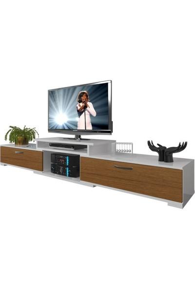 Decoraktiv Flex MDF Tv Ünitesi Tv Sehpası Beyaz Ceviz