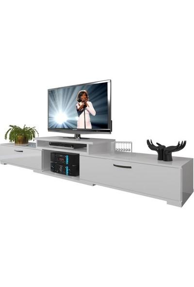 Decoraktiv Flex SLM Tv Ünitesi Tv Sehpası Parlak Beyaz