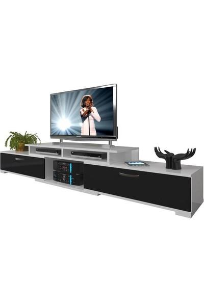 Decoraktiv Flex130 MDF Tv Ünitesi Tv Sehpası Beyaz Siyah