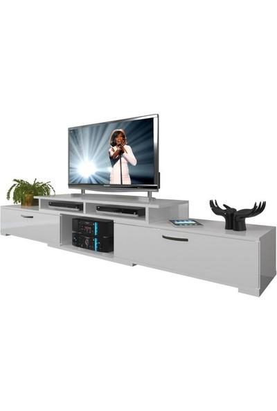 Decoraktiv Flex130 SLM Tv Ünitesi Tv Sehpası Parlak Beyaz