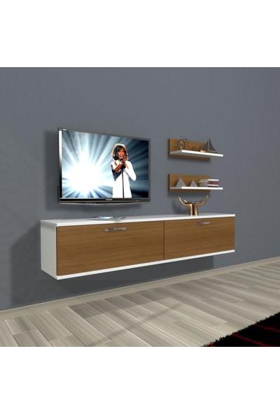 Decoraktiv Shock Slm Std Tv Ünitesi Tv Sehpası Beyaz Ceviz