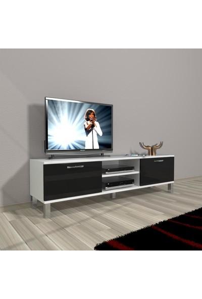 Decoraktiv Style 140 Mdf Dvd Krom Ayaklı Tv Ünitesi Tv Sehpası Beyaz Siyah