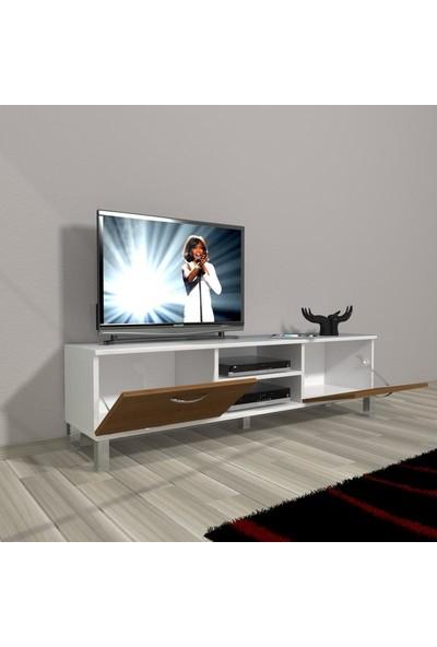 Decoraktiv Style 140 Mdf Dvd Krom Ayaklı Tv Ünitesi Tv Sehpası Naturel Ceviz