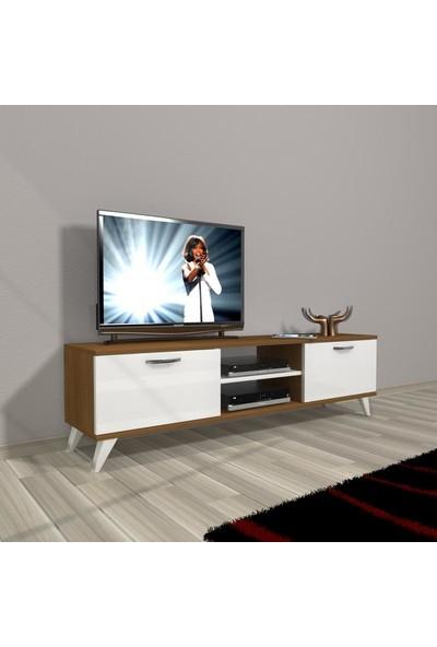 Decoraktiv Style 140 Mdf Dvd Retro Tv Ünitesi Tv Sehpası Ceviz Beyaz