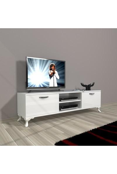 Decoraktiv Style 140 Mdf Dvd Rustik Tv Ünitesi Tv Sehpası Parlak Beyaz