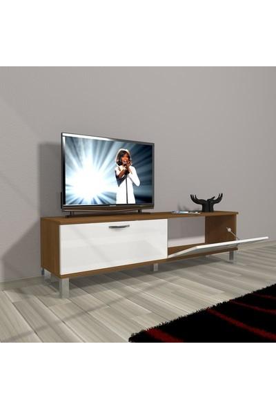 Decoraktiv Style 140 Mdf Std Krom Ayaklı Tv Ünitesi Tv Sehpası Ceviz Beyaz