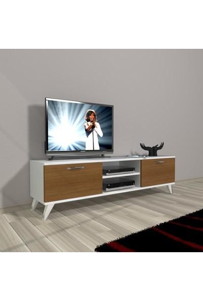 Decoraktiv Style 140 Slm Dvd Retro Tv Ünitesi Tv Sehpası Beyaz Ceviz