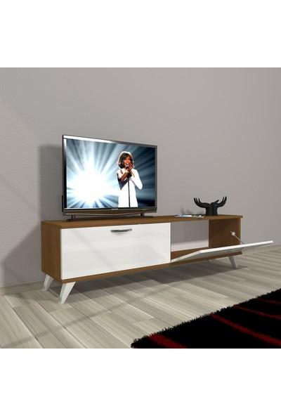 Decoraktiv Style 140 Slm Std Retro Tv Ünitesi Tv Sehpası Beyaz Ceviz