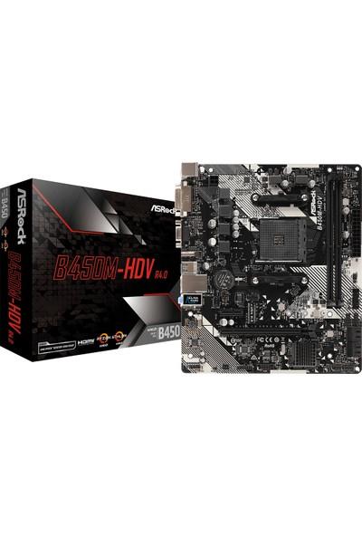 Asrock B450M-HDV R4.0 AMD B450 3200+MHz (OC) DDR4 Socket AM4 ATX Anakart (ASRB450M-HDVR4)
