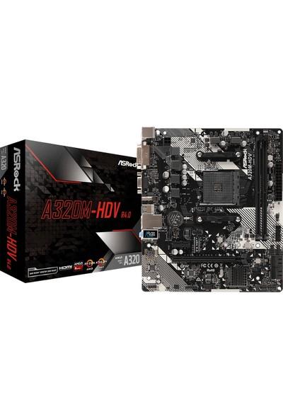 Asrock A320M-HDVR4 AMD A320 3200+MHz (OC) DDR4 Socket AM4 mATX Anakart (ASRA320M-HDVR4)