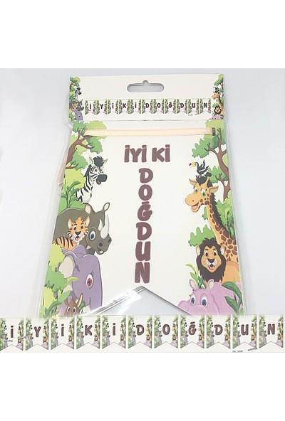 Ayd Neşeli Orman Hayvanları Temalı İyiki Doğdun Banner Yazısı Flama